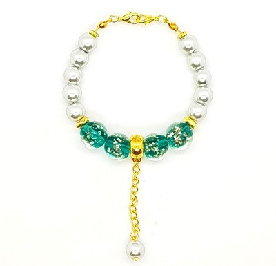 Bracelet & Face Mask Extender Dual Function (Grammy - Grey Pearl & Transparent Round Lampwork Glass Beads)