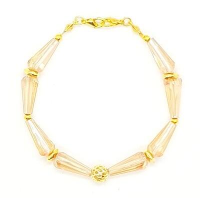 Bracelet & Face Mask Extender Dual Function (Ailiseu - Gold Pagoda Crystal Beads)