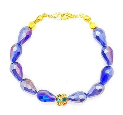 Bracelet & Face Mask Extender Dual Function (Byeol - Blue Tear Drop Crystal Beads)