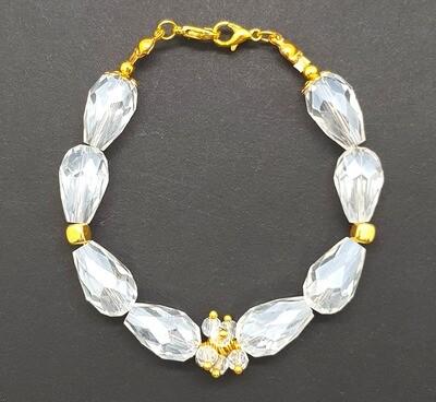 Bracelet & Face Mask Extender Dual Function (Baeg-Ilcho - White Crystal Teardrop Beads)