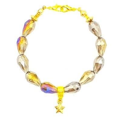 Bracelet & Face Mask Extender Dual Function (Chija - Grey Rainbow Crystal Teardrop Beads)
