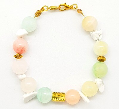 Bracelet & Face Mask Extender Dual Function (Twice - Colourful Chalcedony Beads 10mm & Geometry Loose Beads - Korean Design)