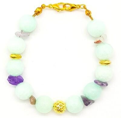 Bracelet & Face Mask Extender Dual Function (Mamamoo - Amazonite Chalcedony Beads 10mm & Geometry Loose Beads - Korean Design)