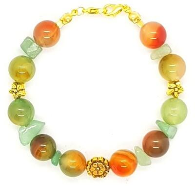 Bracelet & Face Mask Extender Dual Function (Everglow - Malachite Agate Stone Beads)