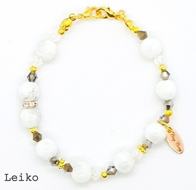 Bracelet & Face Mask Extender Dual Function (Leiko - White Pearl Beads, Czech Beads, Gold Accessories & Durable Soft Wire String)
