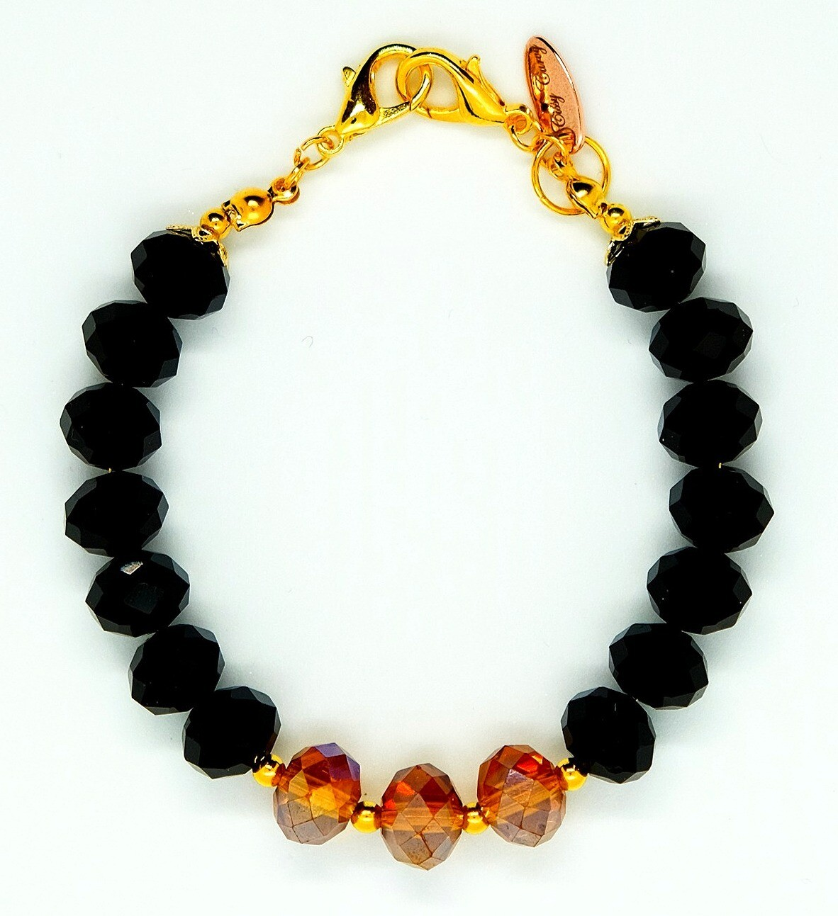 Bracelet & Face Mask Extender Dual Function (Akihiko - Black & Red Amethyst Beads, Gold Accessories & Durable Soft Wire String)