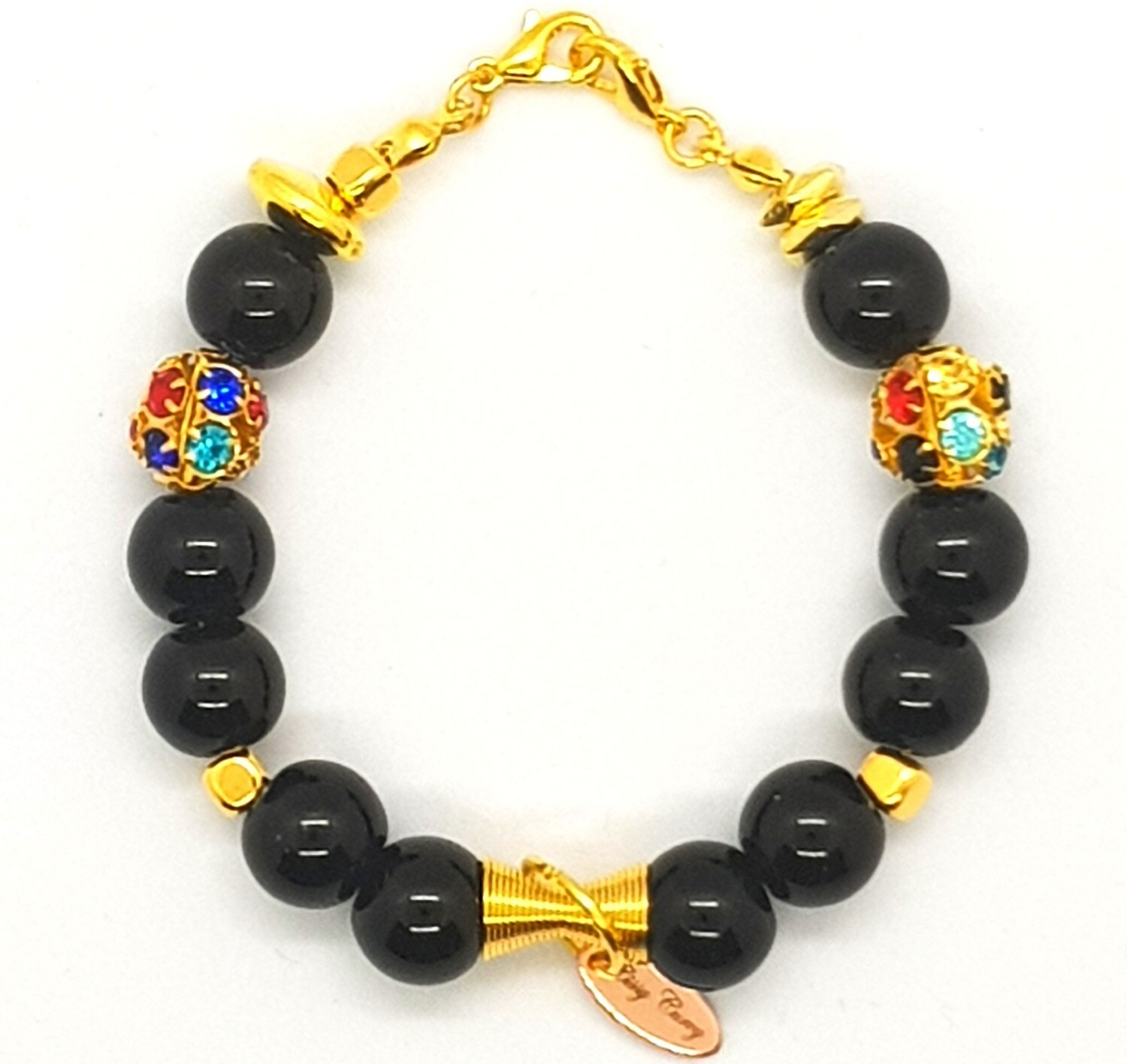 Bracelet & Face Mask Extender Dual Function (Katsumi - Black Pearl Beads, Gold Accessories & Durable Soft Wire String)