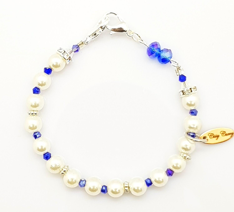Dual Function Face Mask Extender & Bracelet (Akari Saphhire Pearl Beads)