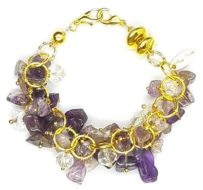 Bracelet & Mask Extender 2-IN-1 (Inessa - Amethyst Irregular & Gold Beads)