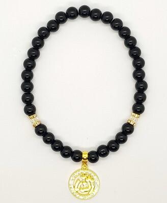 Tasbih & Car Mirror Accessories 2-in-1 Black Pearl Diamond Beads & Allah Islamic Gold Diamond Plated - Aakifah