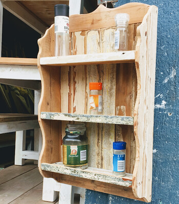 Rustic wall spice rack