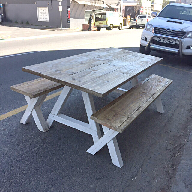 10 Seater table and matching bench set (2 benches)