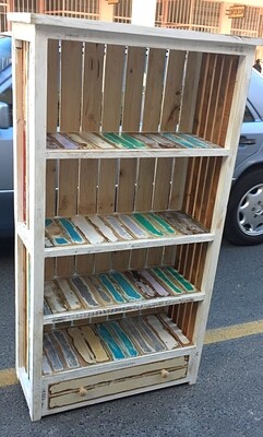 Colourful rustic bookshelf