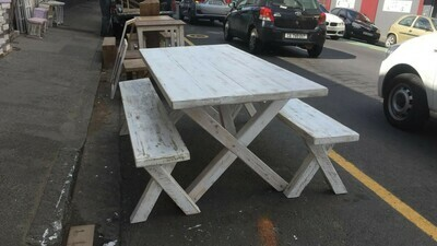 Classic white rustic table set 6 seater table