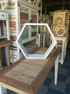 Large hexagonal wall shelf