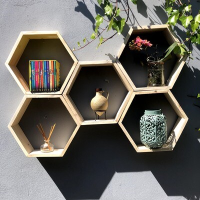 Hexagonal wooden set of 5