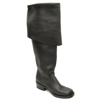 PIRATES II JACK SPARROW SMOOTH BLACK PIRATE BOOTS (A9)