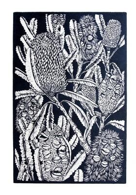 "Original  Lino Print ""Banksia at Lake Conjola"""
