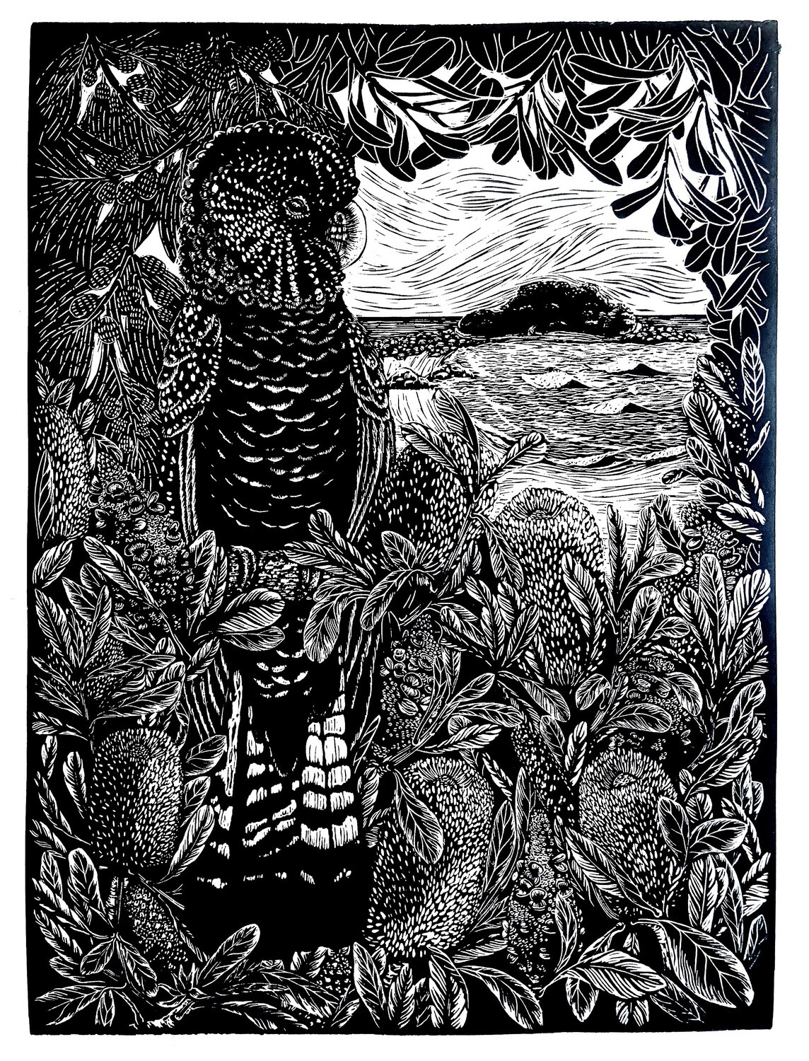 "Original Limited Edition Hand Printed Lino ""Spirit Bird watching over Green Island"""