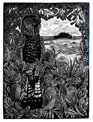 "Original Limited Edition Hand Printed Lino ""Spirit Bird watching over Green Island"""