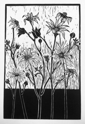 "Original  Lino Print ""Flannel Flowers"""
