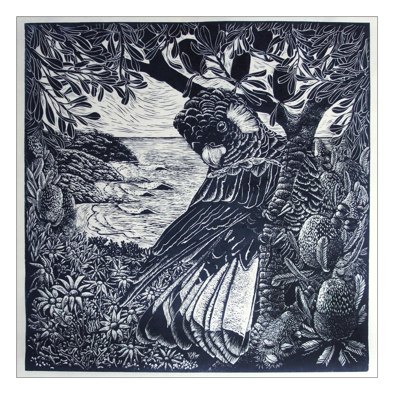"Original Limited Edition Hand Printed Lino ""Along a coastal track"""