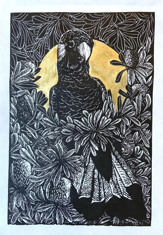 """Original Unique Print hand printed """"Rain Bird"""" With 23ct Gold Leaf"""