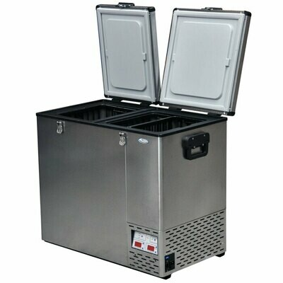 NATIONAL LUNA 110LT DOUBLE DOOR FRIDGE & FREEZER (STAINLESS)