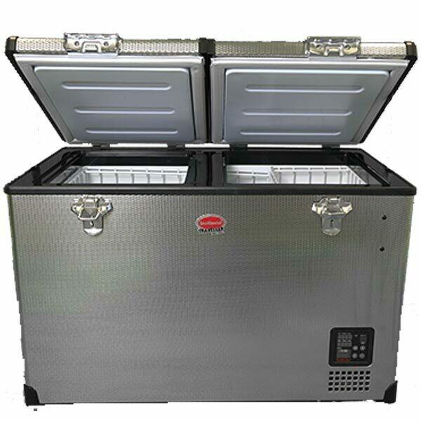 SnoMaster 82.5L Dual Compartment Stainless Steel Fridge/Freezer AC/DC