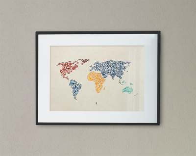 World Map Calligraphy
