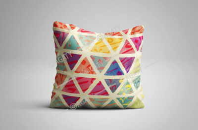Colorful Triangles with Arabic Letters Cushion Cover