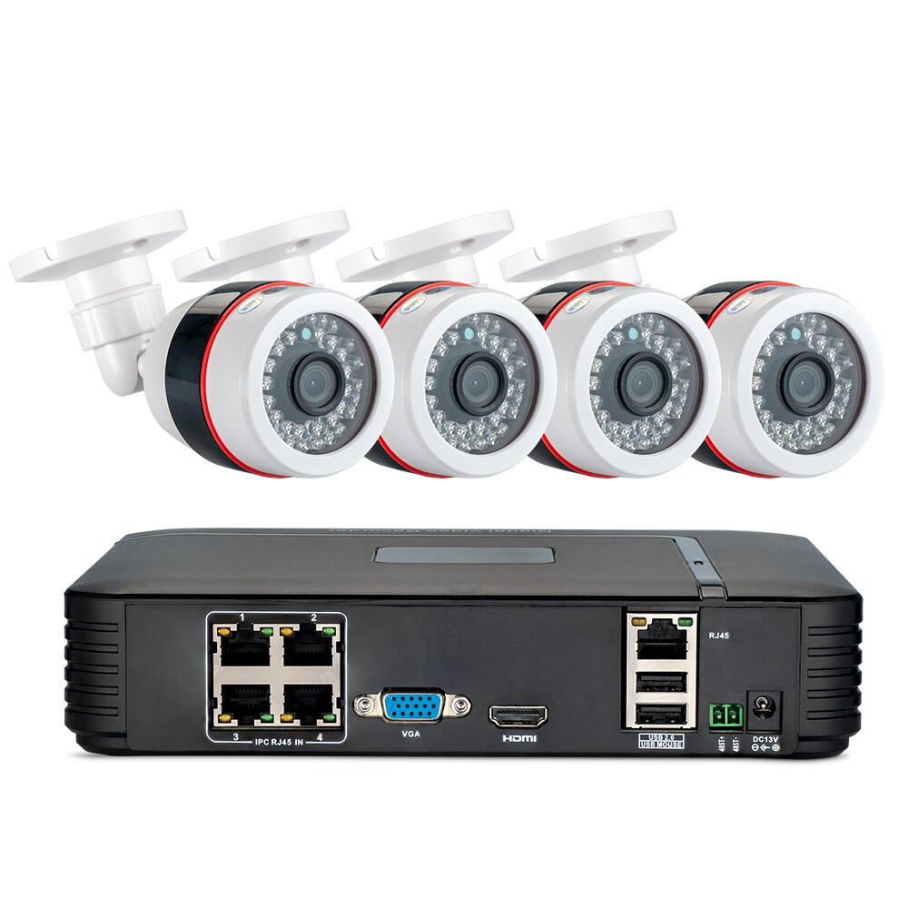 Security Camera System POE 1080P (3 TB Hard Drive) (4 of 2MP Cameras) and Cables