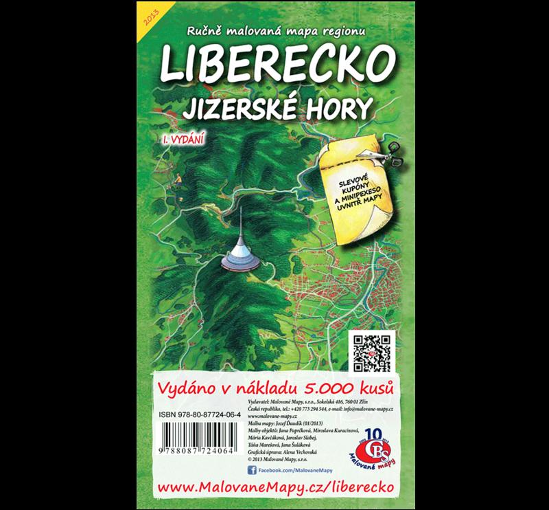 Liberecko, Jizerské hory - nástěnná mapa