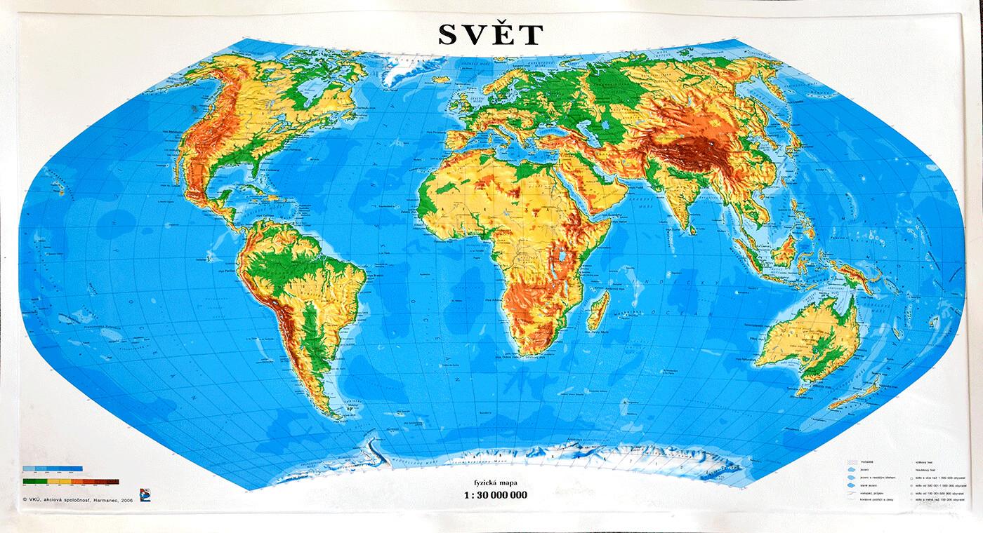 Plastická mapa Svět
