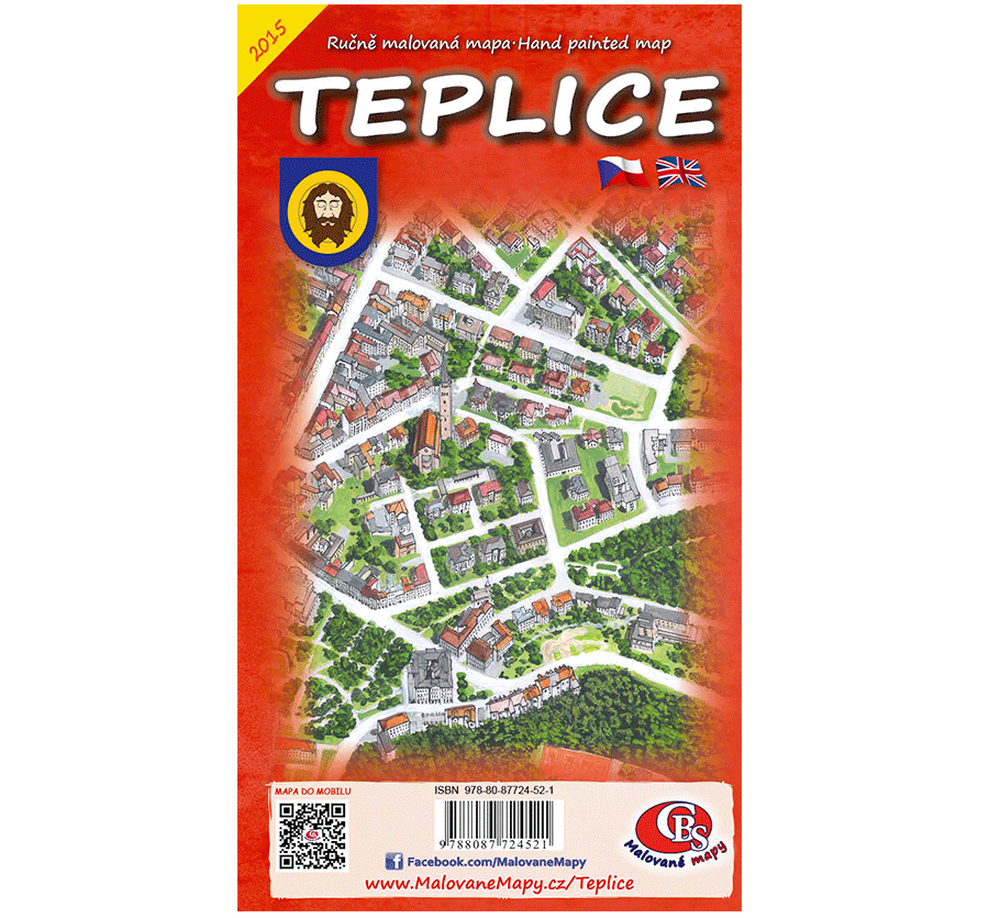 Ručně malovaná mapa města Teplice