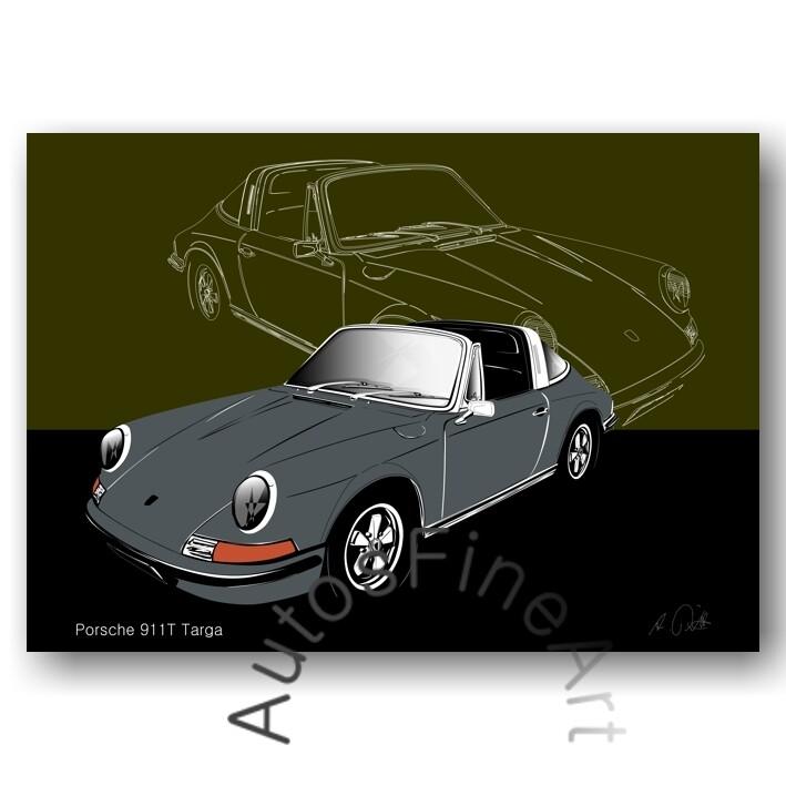 Porsche 911T Targa - Poster No. 116sketch