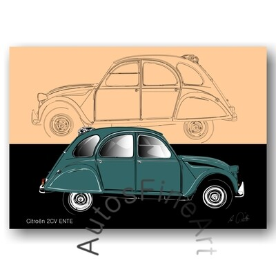 Citroen 2cv ENTE - HD Aluminiumbild No. 159sketch