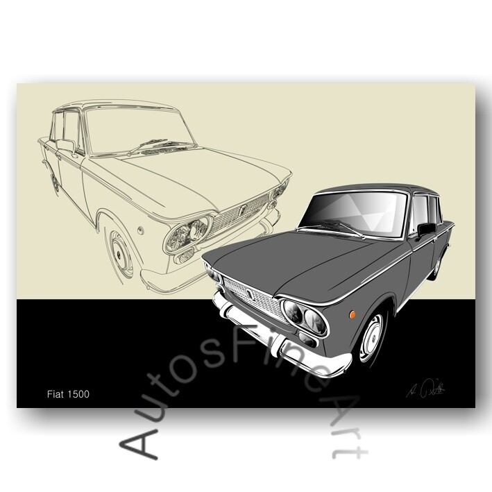Fiat 1500 - HD Aluminiumbild No. 157sketch