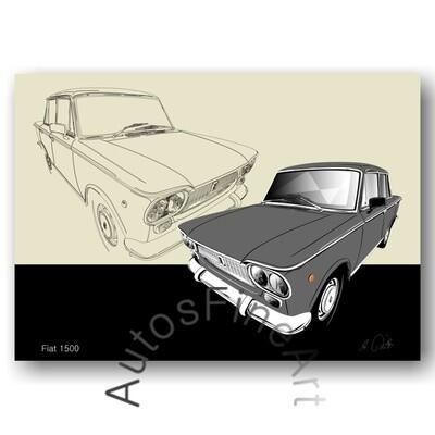 Fiat 1500 - HD Aluminiumbild No. 157sketch