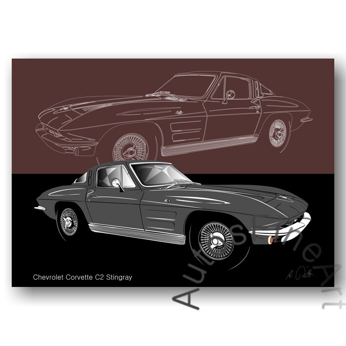 Chevrolet Corvette C2 Stingray - Poster No. 156sketch