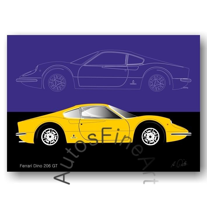 Ferrari Dino 206 GT - Kunstdruck No. 19sketch