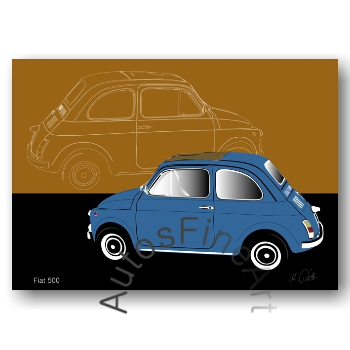 Fiat 500 - HD Aluminiumbild No. 27sketch