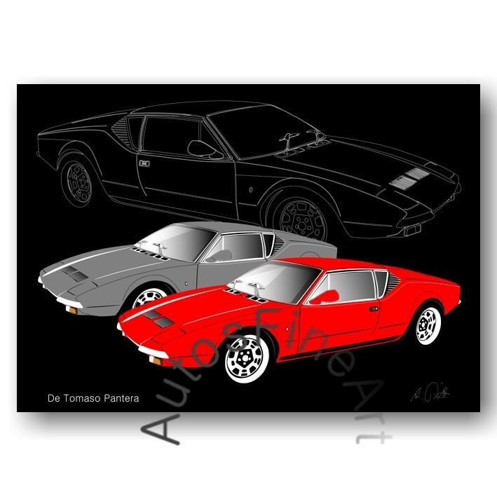 De Tomaso Pantera - HD Aluminiumbild No. 46sketch