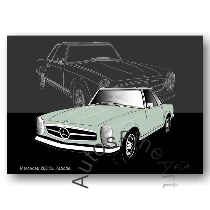 Mercedes 280 SL Pagode - HD Aluminiumbild No. 113sketch