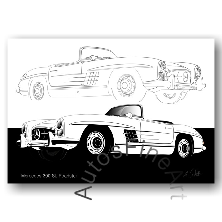 Mercedes 300 SL Roadster - HD Aluminiumbild No. 114sketch