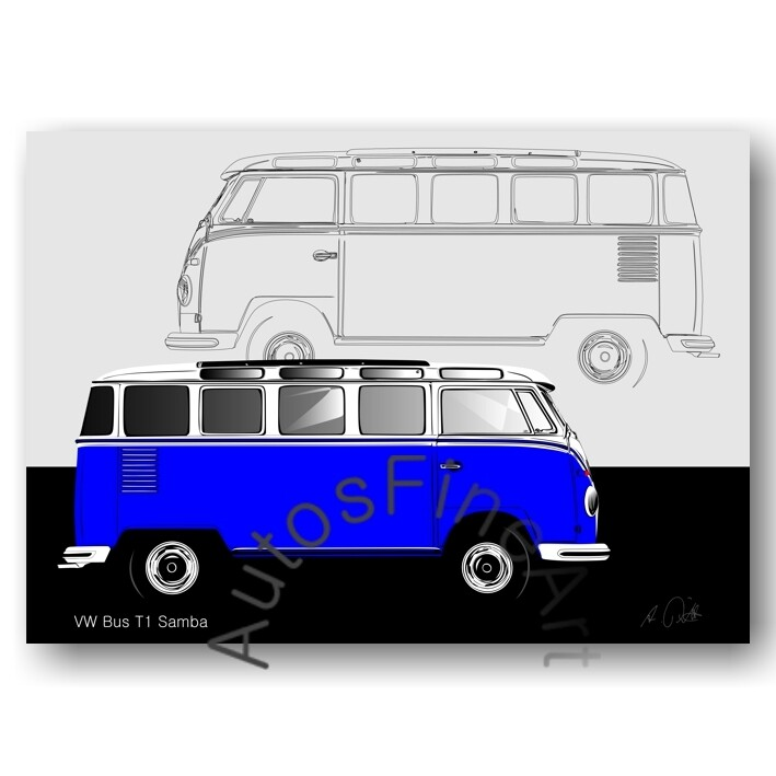 VW Bus T1 Samba - HD Aluminiumbild No. 124sketch