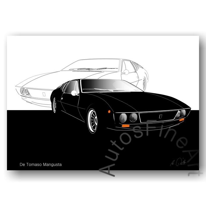 De Tomaso Mangusta - HD Aluminiumbild No. 9sketch