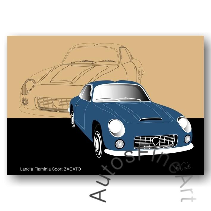 Lancia Flaminia Sport ZAGATO - HD Aluminiumbild No. 11sketch