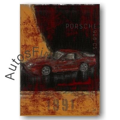 Porsche 968 CS - HD Aluminiumbild No. 130Plate