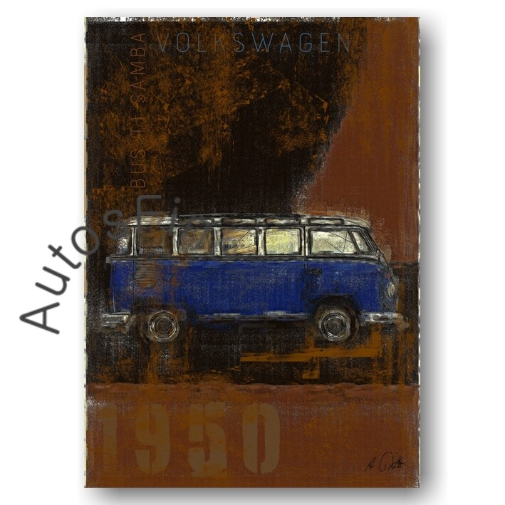 VW Bus T1 Samba - Kunstdruck No. 124Plate DIN A3